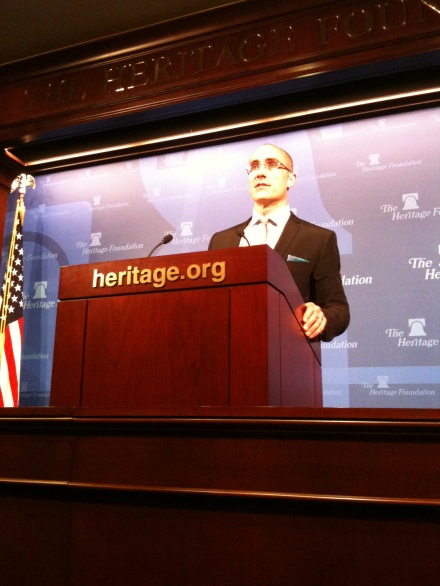 Arthur Brooks, President of American Enterprise Institute in Washington DC, addressing an audience at Heritage's Lehrman Auditorium